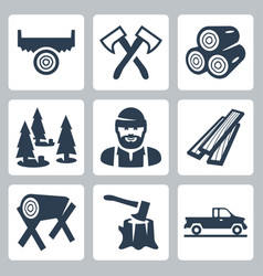 lumberjack icons set vector image
