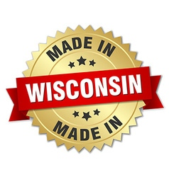 Made in wisconsin gold badge with red ribbon vector