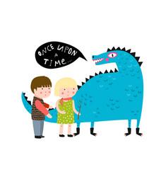 Magic fairy tale dragon and kids vector
