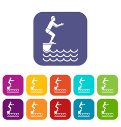 Man standing on springboard icons set vector