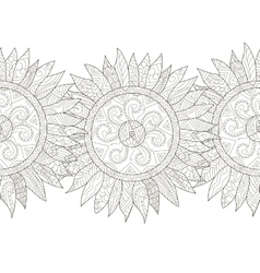 Mandala flower sunflower coloring seamless vector image
