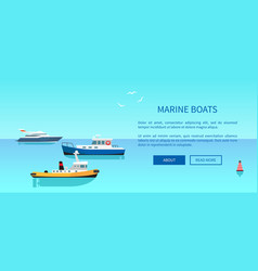 Marine boats colorful card vector