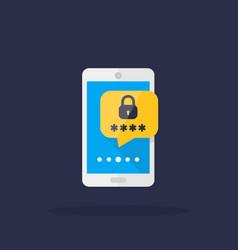 Mobile security password access icon vector