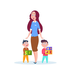 Nanny and kids young babysitter cartoon little vector