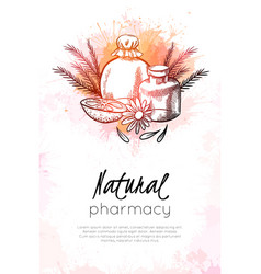 Natural pharmacy vertical card with sketch vector