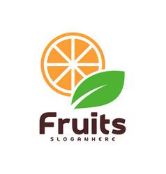 Orange fruit with green leaf logo design food vector