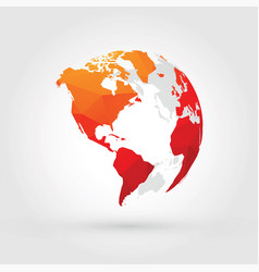 Orange red globe north central and south america vector