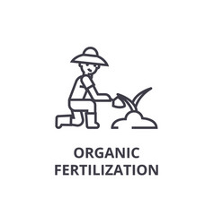organic fertilization line icon outline sign vector image