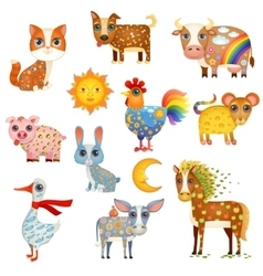 Painted Domestic Animals vector image