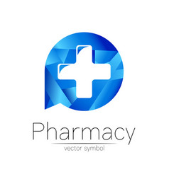 Pharmacy symbol with cross in blue circle vector