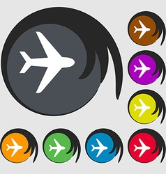 Plane icon sign Symbol on eight colored buttons vector image