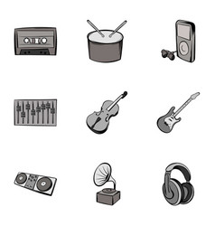 Playing song icons set gray monochrome style vector