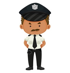 Policeman in black and white uniform vector image