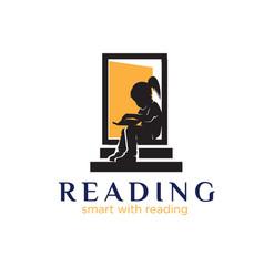 Read book logo designs simple modern vector