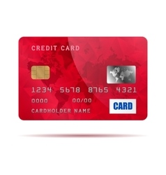 Red credit card icon realistic style vector