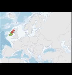 republic ireland location on europe map vector image