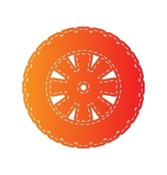 Road tire sign Orange applique isolated vector