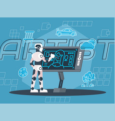 robot artist vector image