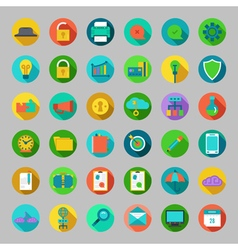 Round flat icons set with concepts business vector