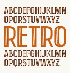 Sans serif decorative font in retro style vector