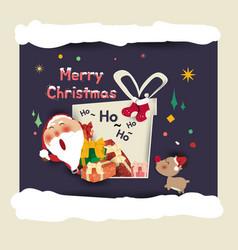 santa clausgift box merry christmas and happy new vector image