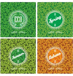 set backgrounds with leaves in different season vector image