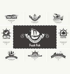 set business cards for seafood restaurants vector image