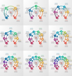 set circle infographic templates 4-12 options vector image