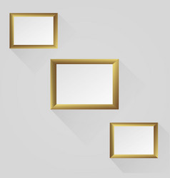 set golden frames isolated on white background vector image
