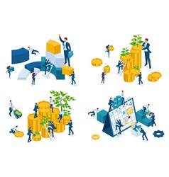Set isometric concept businessmen invest money gro vector