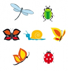 set of insect icons vector image