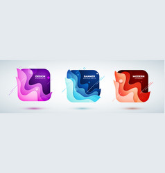 set of square liquid abstract geometric shapes vector image