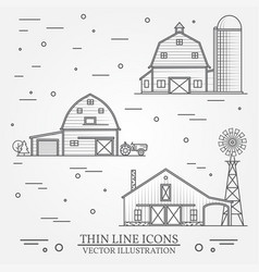 Set of thin line american farm icon vector