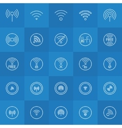 Set of thin line wi-fi icons vector image