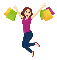 shopping woman in jeans surprised vector image