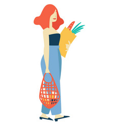shopping woman with bag and pack food vector image