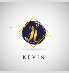 Simple elegance initial letter k gold logo type vector
