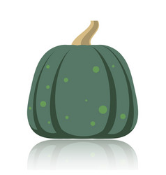 Simple flat pumpkin on white glossy surface vector