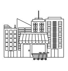 store at city concept in black and white vector image
