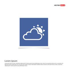 Sun cloud icon - blue photo frame vector