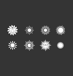 Sun icon set grey vector