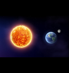 Sun star and planet earth with moon vector