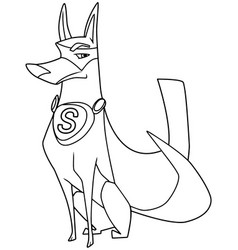 super dog sitting line art vector image
