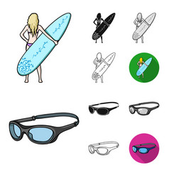 surfing and extreme cartoonblackflatmonochrome vector image