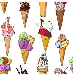 sweet ice cream seamless pattern vector image