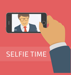 taking selfie photo on smart phone vector image