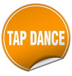 Tap dance round orange sticker isolated on white vector