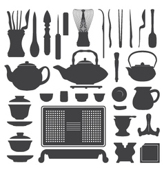 tea ceremony equipment silhouette set vector image vector image