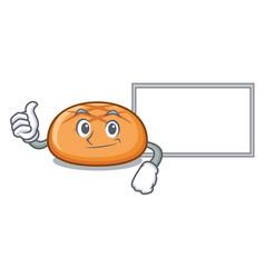 thumbs up with board hamburger bun character vector image