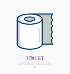 Toilet paper thin line icon vector